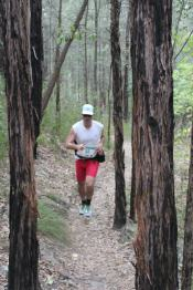 Markus running through the woods in Blue Mountains