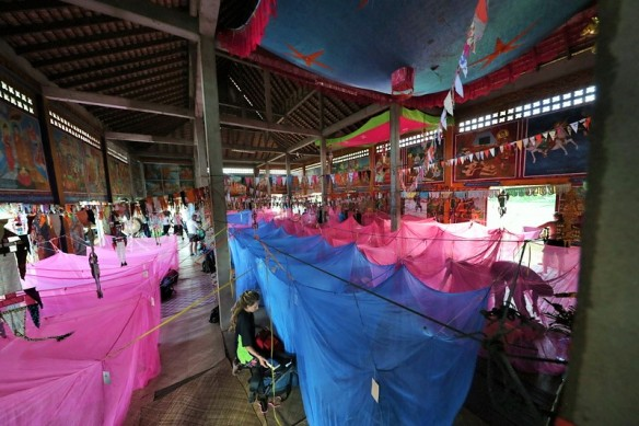 40 mosquito nets in a temple
